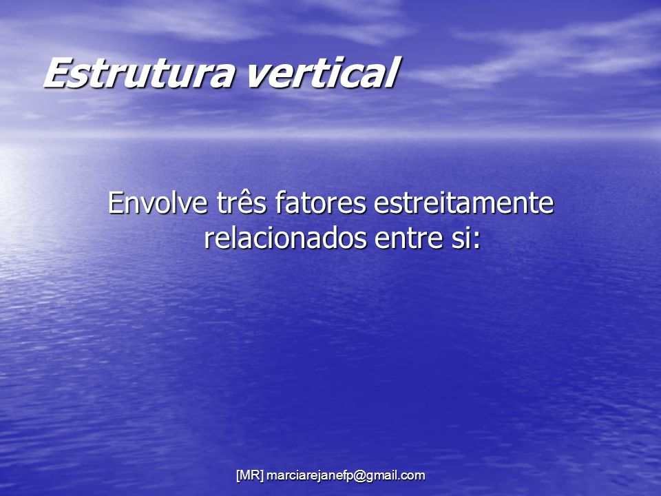 Estrutura vertical Envolve três fatores estreitamente relacionados entre si: [MR] marciarejanefp@gmail.com.